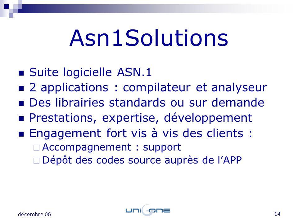 14 décembre 06 Suite logicielle ASN.1 2 applications : compilateur et analyseur Des librairies standards ou sur demande Prestations, expertise, dévelo