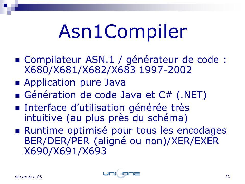 15 décembre 06 Compilateur ASN.1 / générateur de code : X680/X681/X682/X683 1997-2002 Application pure Java Génération de code Java et C# (.NET) Inter