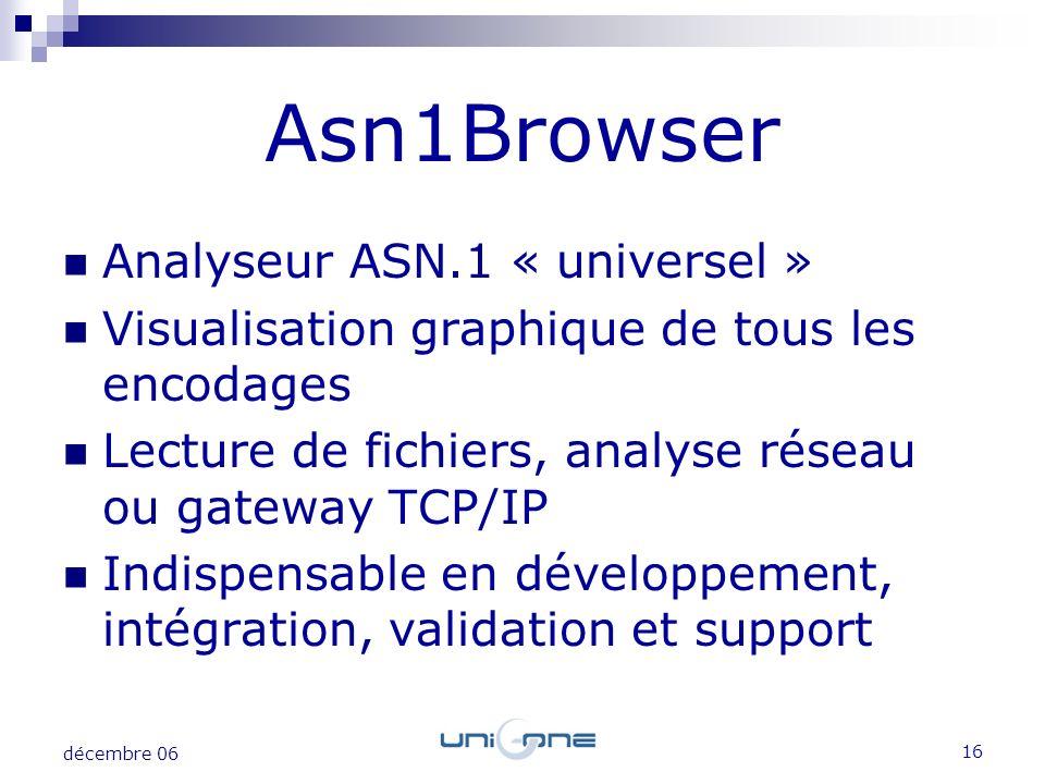 16 décembre 06 Analyseur ASN.1 « universel » Visualisation graphique de tous les encodages Lecture de fichiers, analyse réseau ou gateway TCP/IP Indis