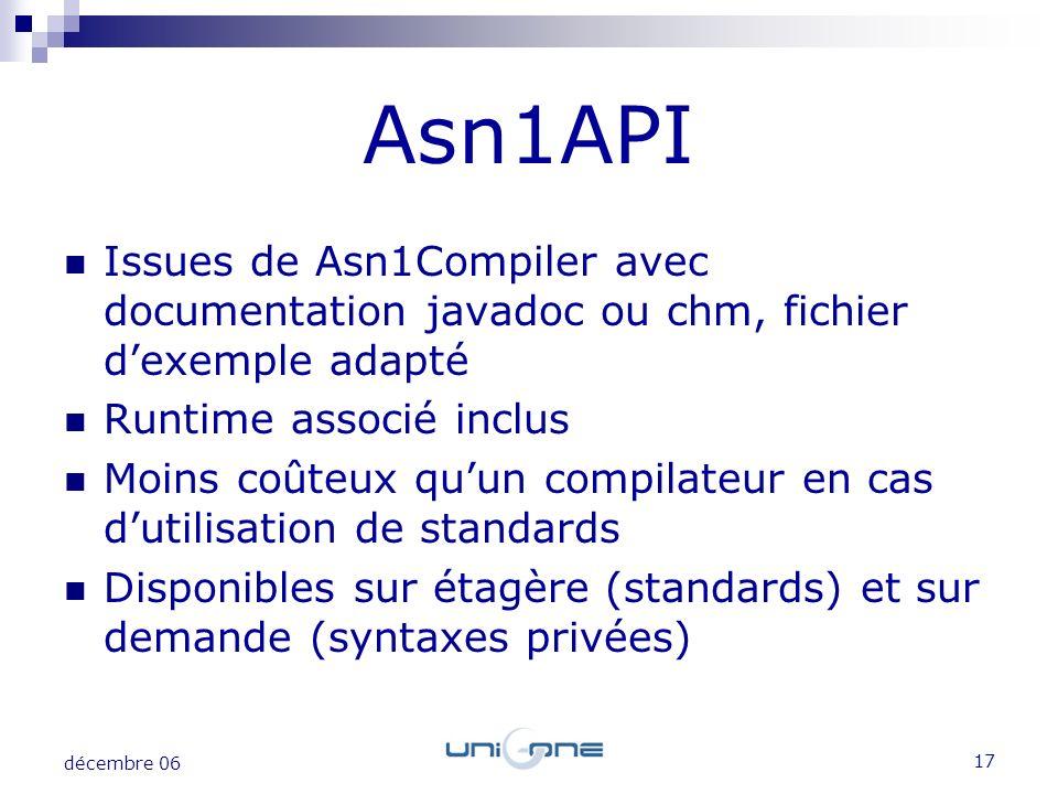 17 décembre 06 Issues de Asn1Compiler avec documentation javadoc ou chm, fichier dexemple adapté Runtime associé inclus Moins coûteux quun compilateur