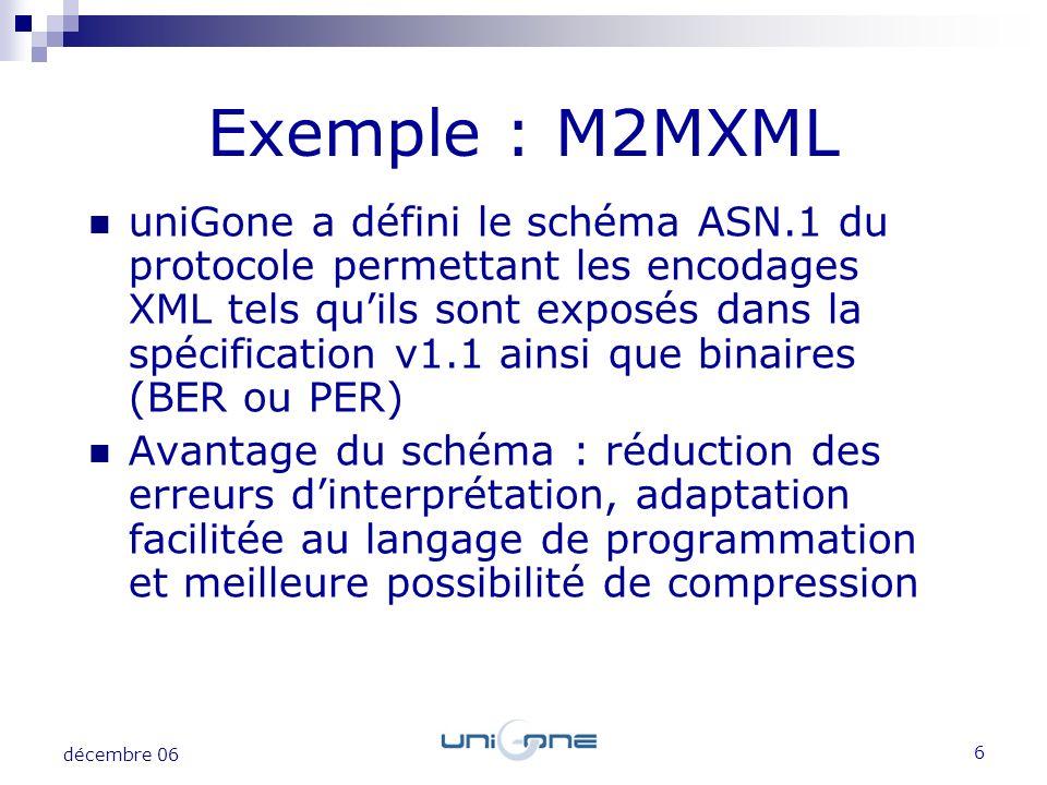 7 décembre 06 Exemple : M2MXML Génération dune API Java et C# à partir du schéma et de Asn1Compiler Un exemple montrant lutilisation de lAPI permet également des comparatifs de taille de message Les messages utilisés sont ceux fournis dans M2MXML v1.1