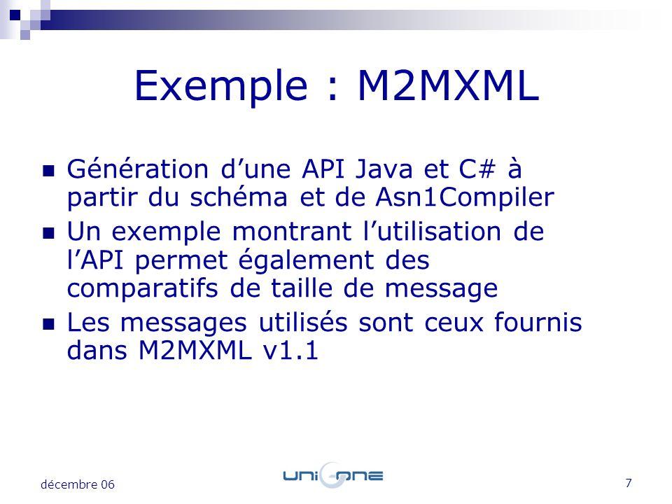 7 décembre 06 Exemple : M2MXML Génération dune API Java et C# à partir du schéma et de Asn1Compiler Un exemple montrant lutilisation de lAPI permet ég
