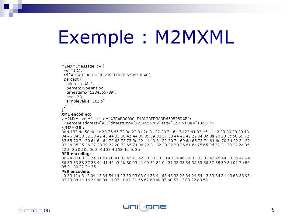 9 décembre 06 Exemple : M2MXML Pour 8 messages, les encodages XML, BER et PER sont comparés La compression zip est appliquée à chaque encodage Technique de codage Taille moyenne en octets XML195 XML zip144 BER83 BER zip73 PER64 PER zip60