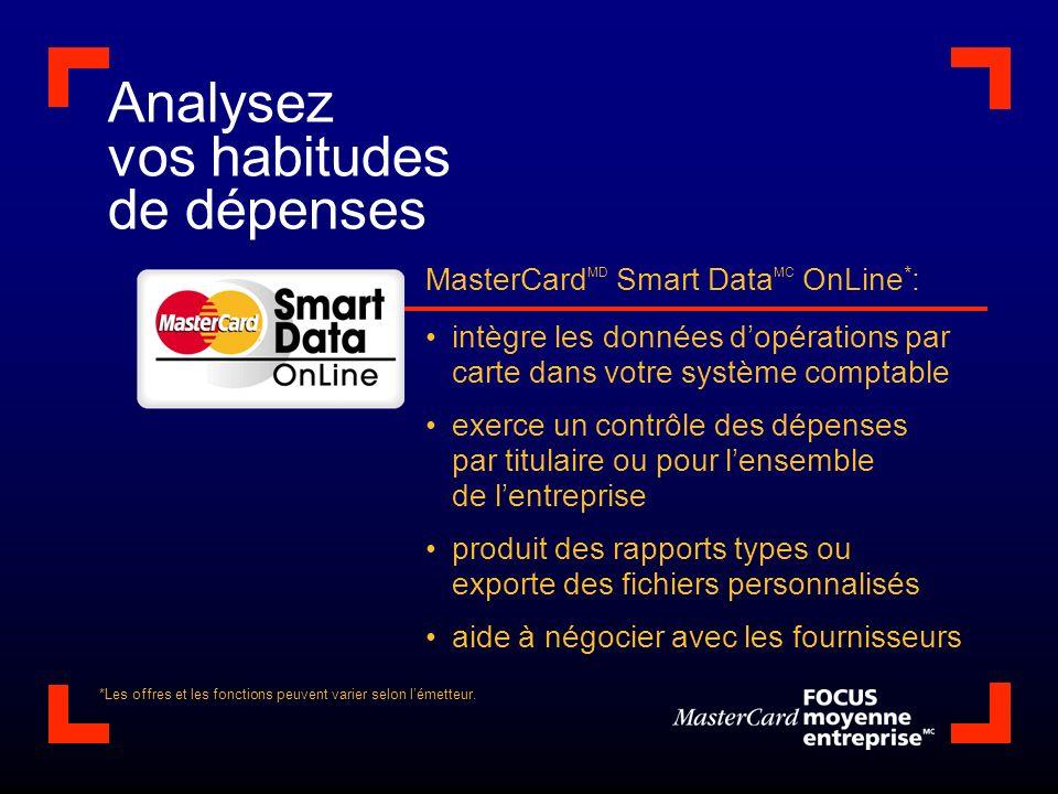 Analysez vos habitudes de dépenses MasterCard MD Smart Data MC OnLine * : intègre les données dopérations par carte dans votre système comptable exerc