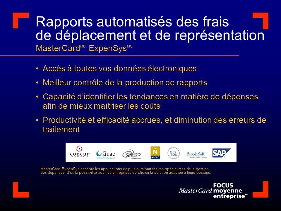 Rapports automatisés des frais de déplacement et de représentation MasterCard MD ExpenSys MC Accès à toutes vos données électroniques Meilleur contrôl