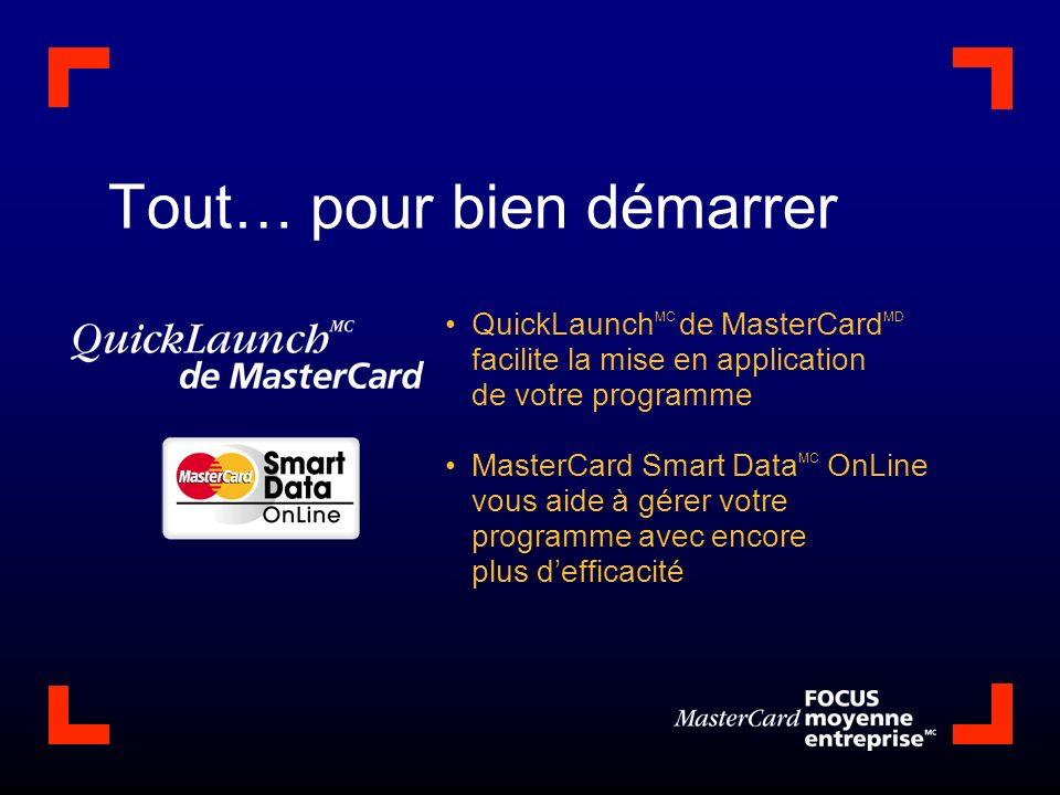 Tout… pour bien démarrer QuickLaunch MC de MasterCard MD facilite la mise en application de votre programme MasterCard Smart Data MC OnLine vous aide