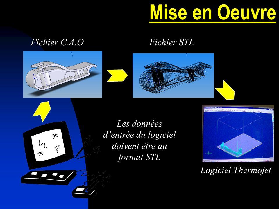 Mise en Oeuvre Les données dentrée du logiciel doivent être au format STL Fichier C.A.OFichier STL Logiciel Thermojet
