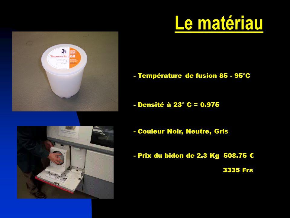 Le matériau - Température de fusion 85 - 95°C - Densité à 23° C = 0.975 - Couleur Noir, Neutre, Gris - Prix du bidon de 2.3 Kg 508.75 3335 Frs