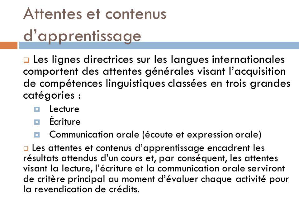 Les lignes directrices sur les langues internationales comportent des attentes générales visant lacquisition de compétences linguistiques classées en