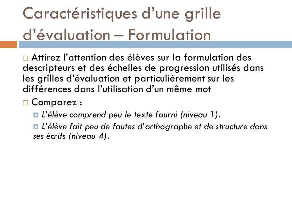 Caractéristiques dune grille dévaluation – Formulation Attirez lattention des élèves sur la formulation des descripteurs et des échelles de progressio