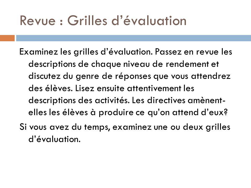 Revue : Grilles dévaluation Examinez les grilles dévaluation. Passez en revue les descriptions de chaque niveau de rendement et discutez du genre de r