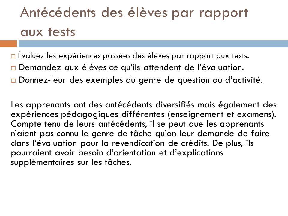 Antécédents des élèves par rapport aux tests Évaluez les expériences passées des élèves par rapport aux tests. Demandez aux élèves ce quils attendent