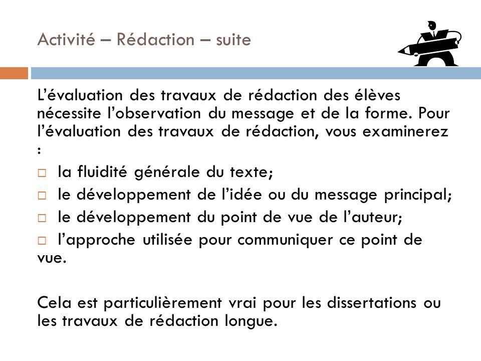 Activité – Rédaction – suite Lévaluation des travaux de rédaction des élèves nécessite lobservation du message et de la forme. Pour lévaluation des tr