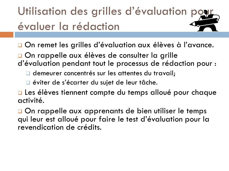 Utilisation des grilles dévaluation pour évaluer la rédaction On remet les grilles dévaluation aux élèves à lavance. On rappelle aux élèves de consult