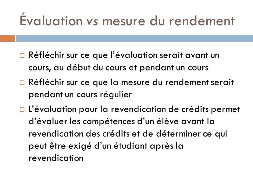Évaluation vs mesure du rendement Réfléchir sur ce que lévaluation serait avant un cours, au début du cours et pendant un cours Réfléchir sur ce que l