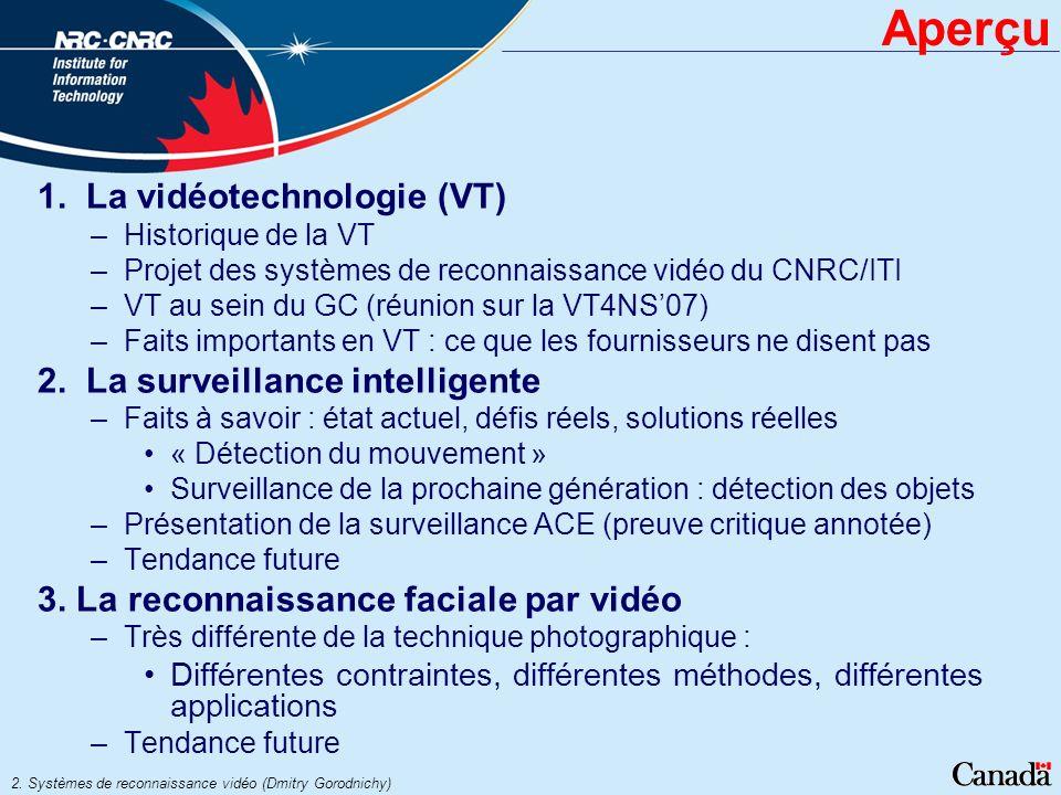 2. Systèmes de reconnaissance vidéo (Dmitry Gorodnichy) Aperçu 1. La vidéotechnologie (VT) –Historique de la VT –Projet des systèmes de reconnaissance