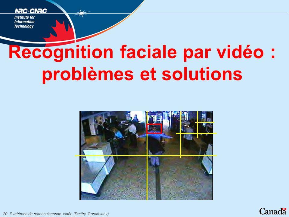 20. Systèmes de reconnaissance vidéo (Dmitry Gorodnichy) Recognition faciale par vidéo : problèmes et solutions