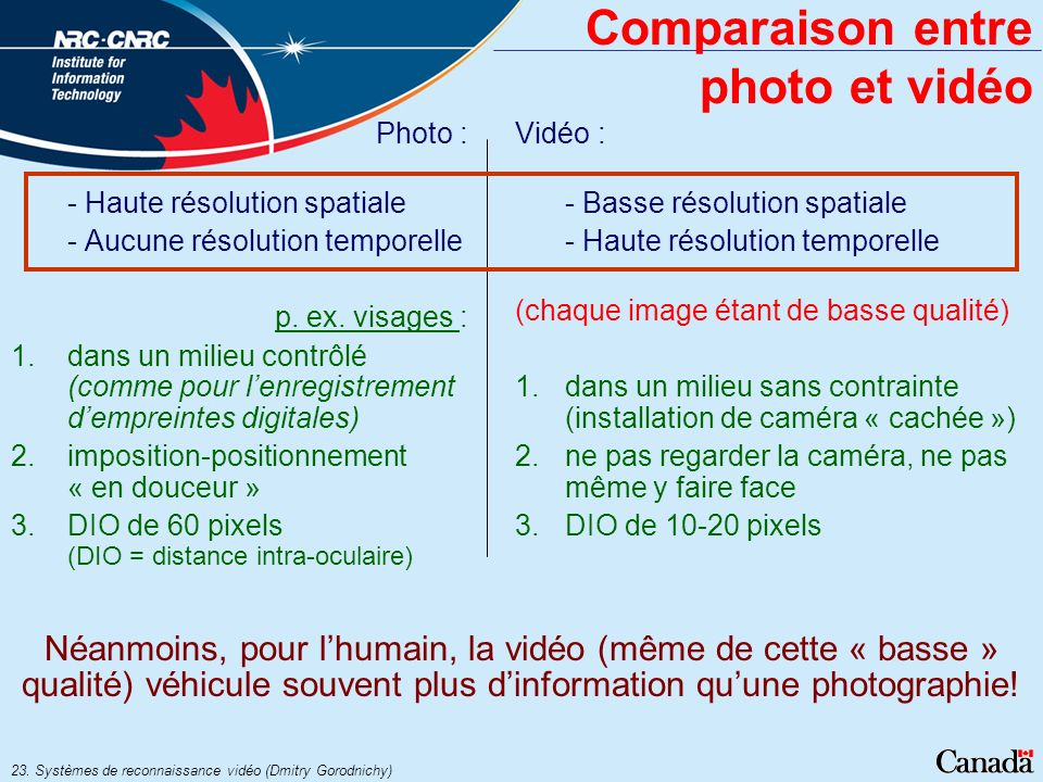 23. Systèmes de reconnaissance vidéo (Dmitry Gorodnichy) Comparaison entre photo et vidéo Photo : - Haute résolution spatiale - Aucune résolution temp
