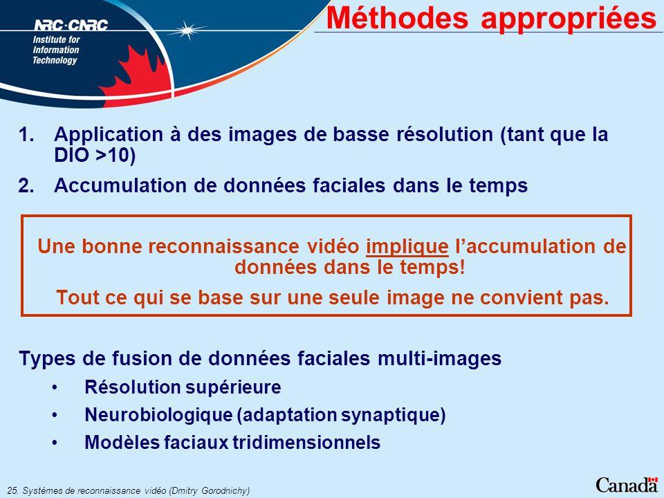 25. Systèmes de reconnaissance vidéo (Dmitry Gorodnichy) Méthodes appropriées 1.Application à des images de basse résolution (tant que la DIO >10) 2.A