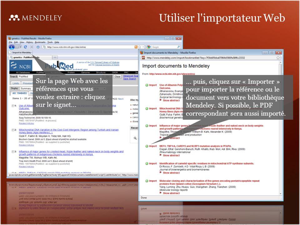 Utiliser l importateur Web Sur la page Web avec les références que vous voulez extraire : cliquez sur le signet......