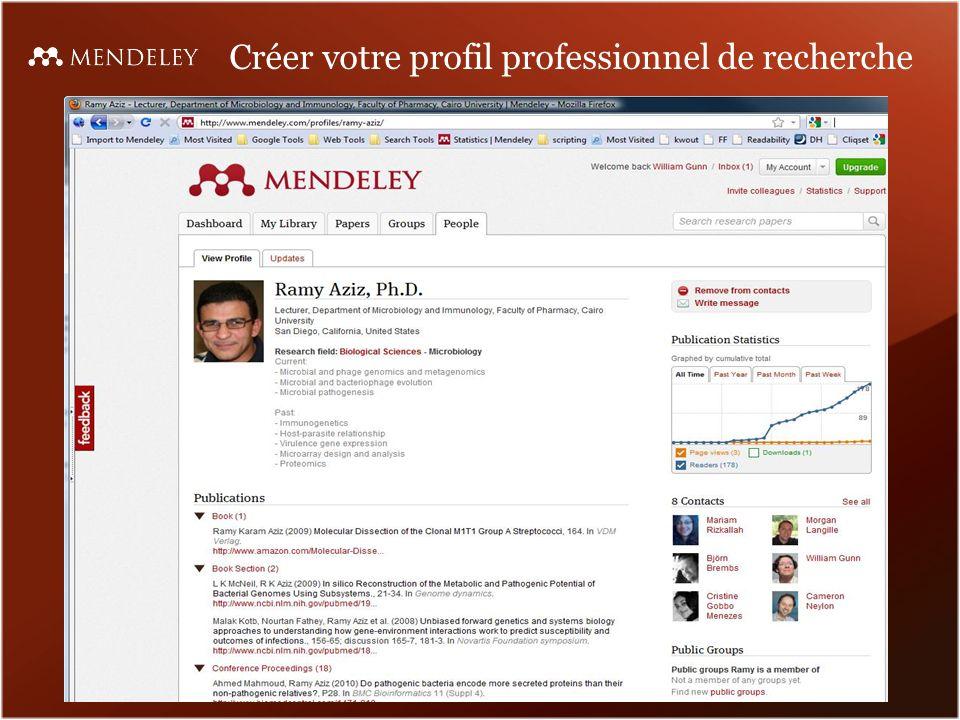Créer votre profil professionnel de recherche
