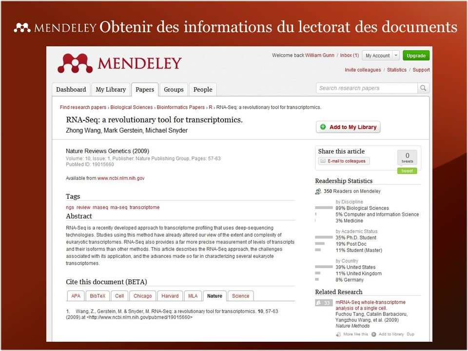 Obtenir des informations du lectorat des documents