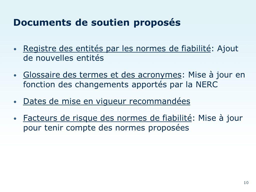 Documents de soutien proposés Registre des entités par les normes de fiabilité: Ajout de nouvelles entités Registre des entités par les normes de fiab