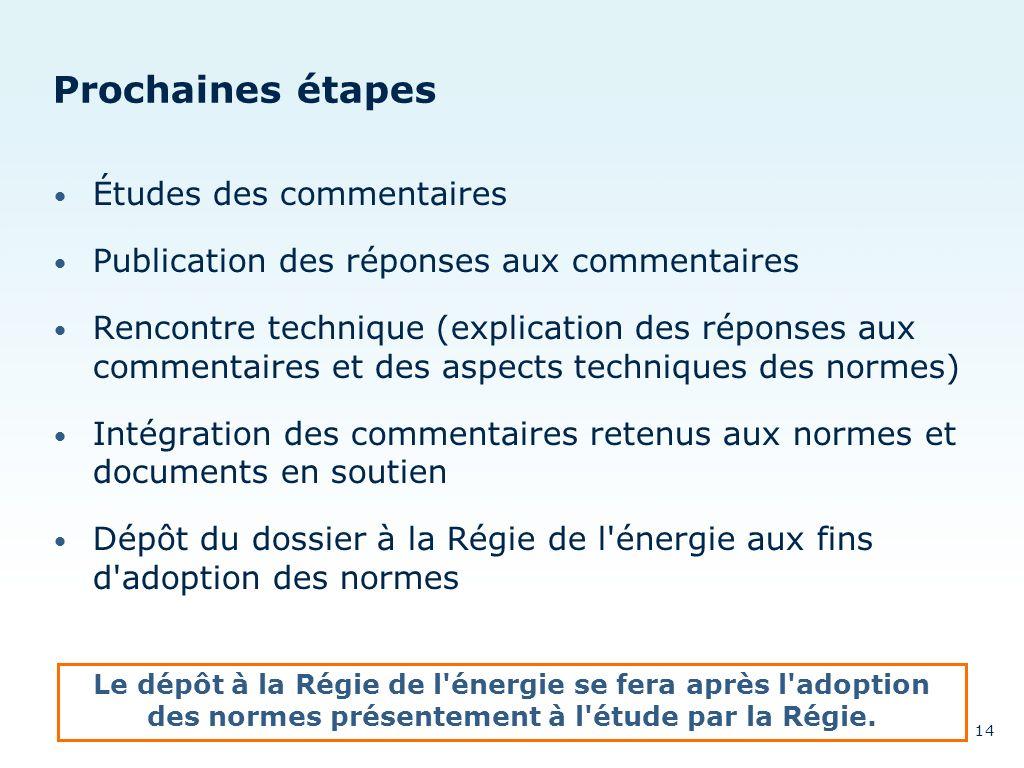 Prochaines étapes Études des commentaires Publication des réponses aux commentaires Rencontre technique (explication des réponses aux commentaires et