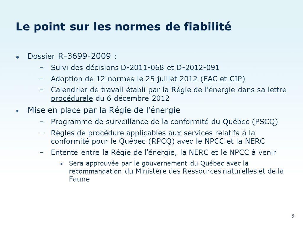 Le point sur les normes de fiabilité Dossier R-3699-2009 : –Suivi des décisions D-2011-068 et D-2012-091D-2011-068D-2012-091 –Adoption de 12 normes le