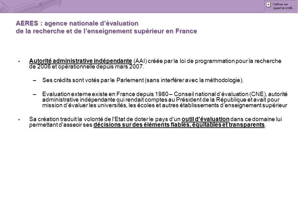AERES : agence nationale dévaluation de la recherche et de lenseignement supérieur en France Autorité administrative indépendante (AAI) créée par la l