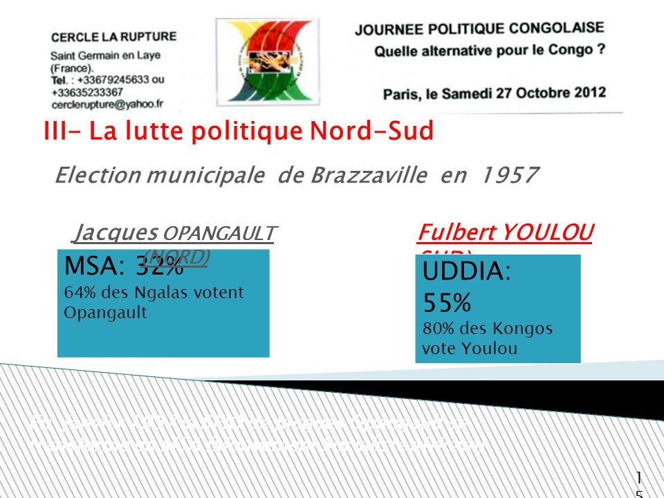 III- La lutte politique Nord-Sud Fulbert YOULOU SUD) 15 Election municipale de Brazzaville en 1957 MSA: 32% 64% des Ngalas votent Opangault En janvier