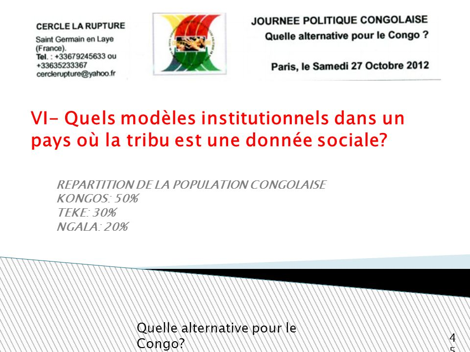 VI- Quels modèles institutionnels dans un pays où la tribu est une donnée sociale? Quelle alternative pour le Congo? 45 REPARTITION DE LA POPULATION C