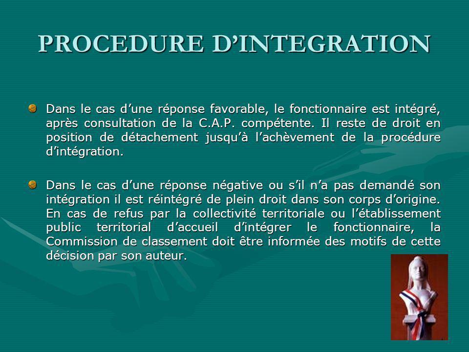 PROCEDURE DINTEGRATION Dans le cas dune réponse favorable, le fonctionnaire est intégré, après consultation de la C.A.P.