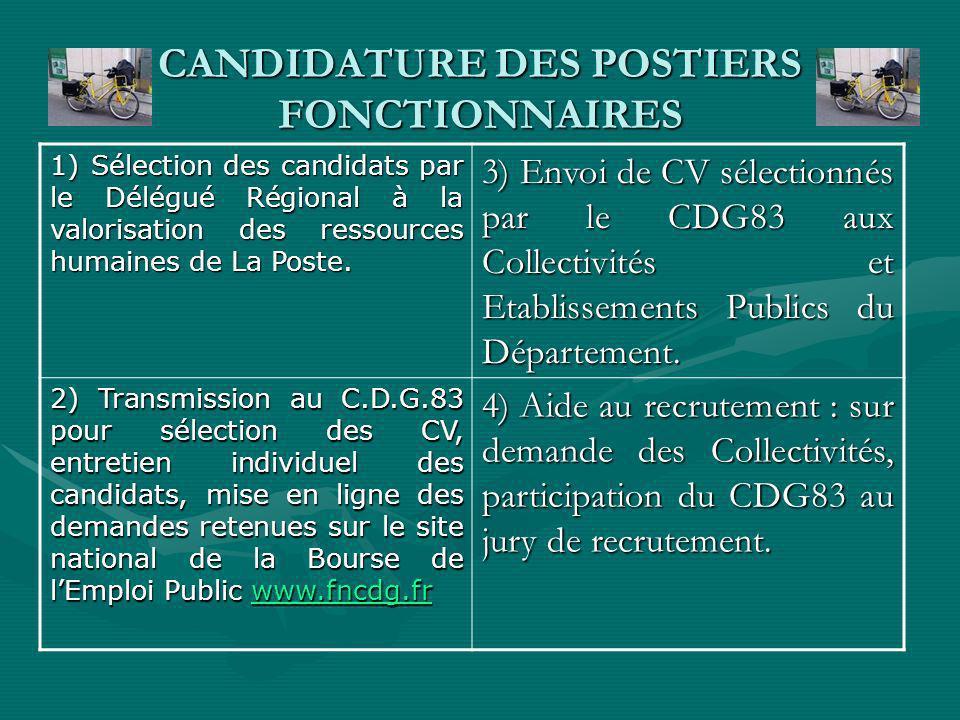 CANDIDATURE DES POSTIERS FONCTIONNAIRES 1) Sélection des candidats par le Délégué Régional à la valorisation des ressources humaines de La Poste.