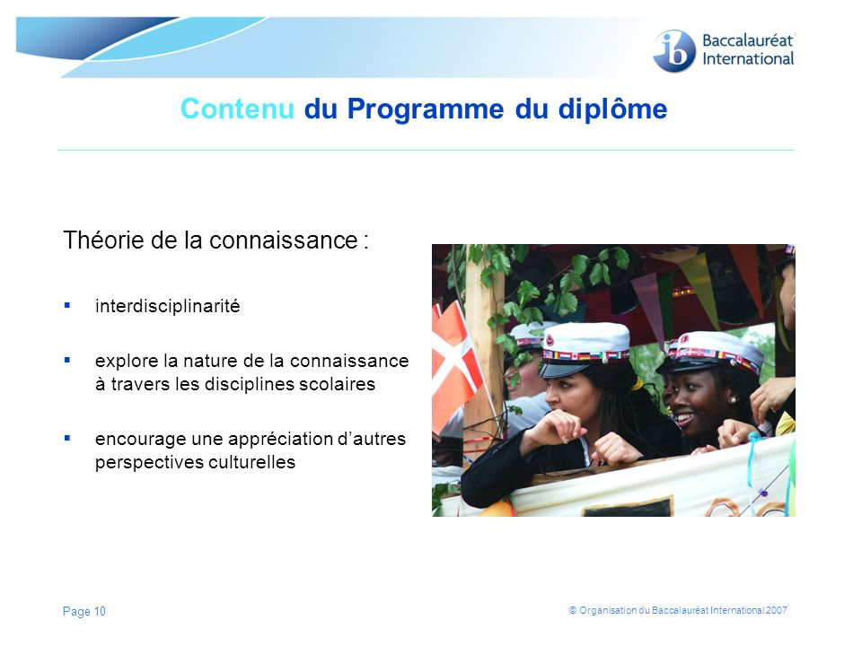 © Organisation du Baccalauréat International 2007 Contenu du Programme du diplôme Théorie de la connaissance : interdisciplinarité explore la nature d