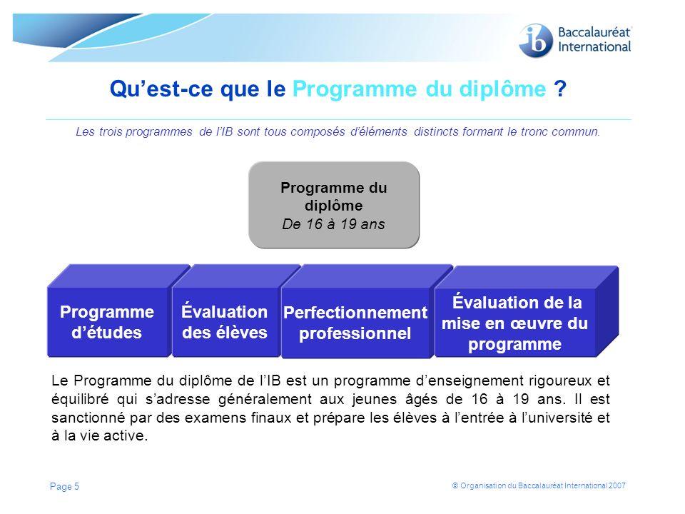 © Organisation du Baccalauréat International 2007 Page 5 Quest-ce que le Programme du diplôme ? Les trois programmes de lIB sont tous composés délémen