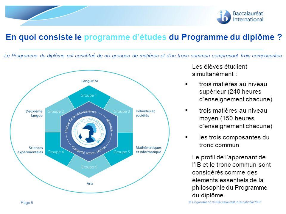 © Organisation du Baccalauréat International 2007 En quoi consiste le programme détudes du Programme du diplôme ? Le Programme du diplôme est constitu