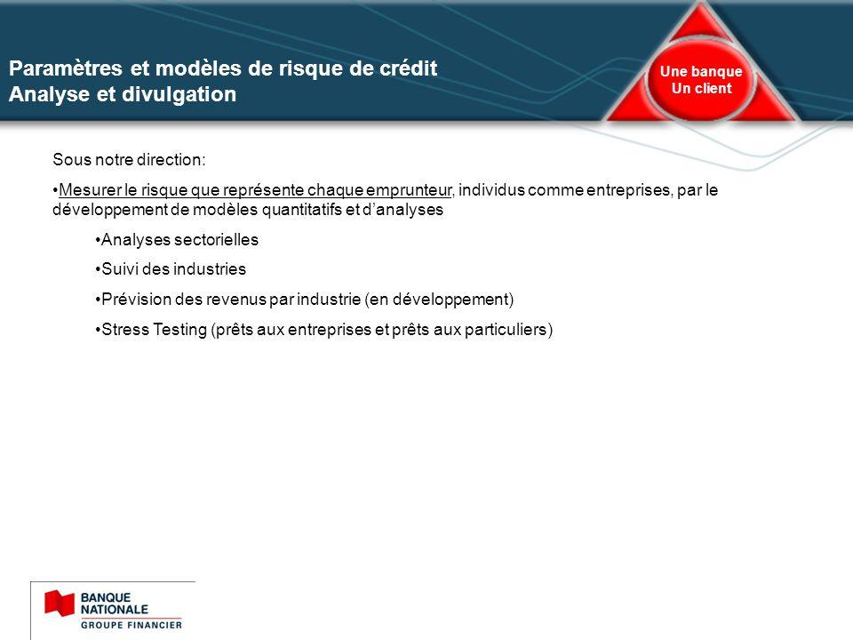 7 Une banque Un client Analyse sectorielle