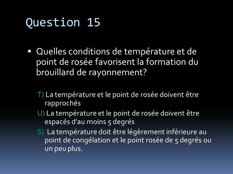 Question 15 Quelles conditions de température et de point de rosée favorisent la formation du brouillard de rayonnement? T) La température et le point