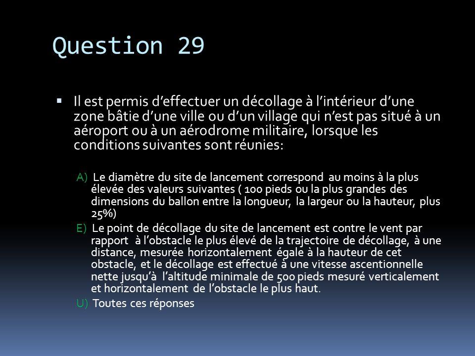Question 29 Il est permis deffectuer un décollage à lintérieur dune zone bâtie dune ville ou dun village qui nest pas situé à un aéroport ou à un aéro