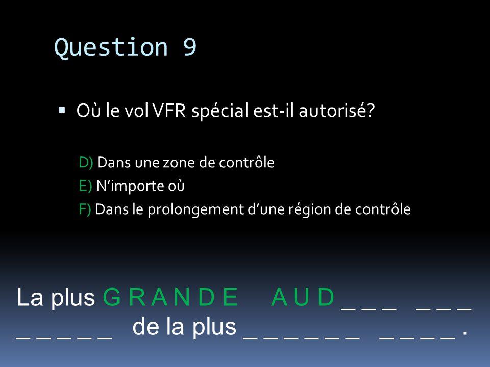 Question 9 Où le vol VFR spécial est-il autorisé? D) Dans une zone de contrôle E) Nimporte où F) Dans le prolongement dune région de contrôle La plus