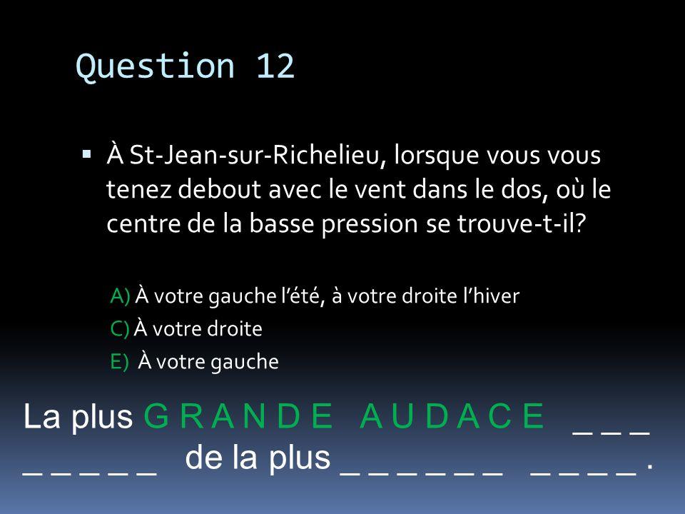 Question 12 À St-Jean-sur-Richelieu, lorsque vous vous tenez debout avec le vent dans le dos, où le centre de la basse pression se trouve-t-il? A) À v