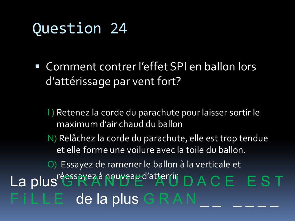 Question 24 Comment contrer leffet SPI en ballon lors dattérissage par vent fort? I ) Retenez la corde du parachute pour laisser sortir le maximum dai