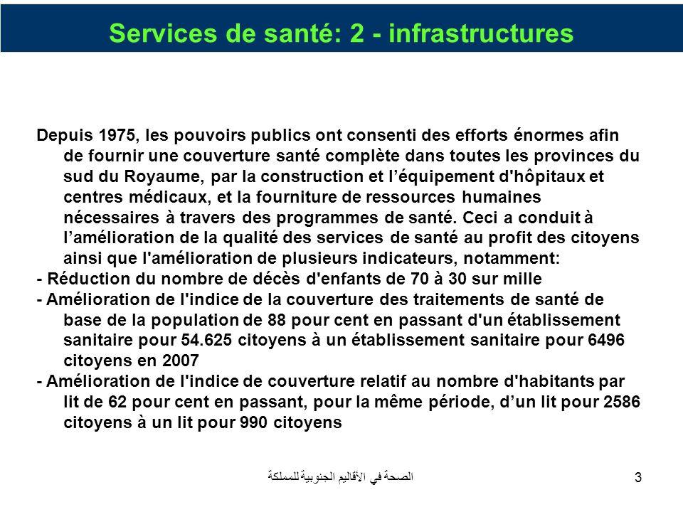 الصحة في الأقاليم الجنوبية للمملكة44 Oued Eddahab Province Mise à niveau du centre provincial à un centre régional avec une capacité de 80 au lieu de 53 par : 1.