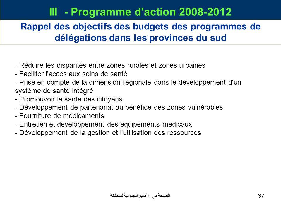 الصحة في الأقاليم الجنوبية للمملكة37 III - Programme d'action 2008-2012 Rappel des objectifs des budgets des programmes de délégations dans les provin