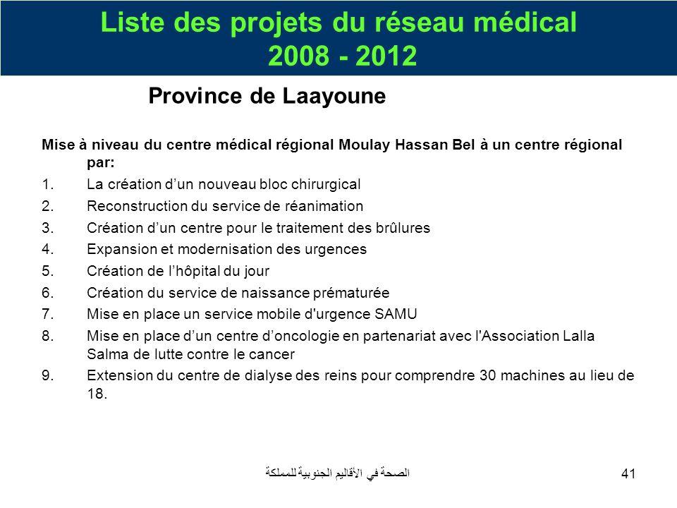 الصحة في الأقاليم الجنوبية للمملكة41 Mise à niveau du centre médical régional Moulay Hassan Bel à un centre régional par: 1.La création dun nouveau bl