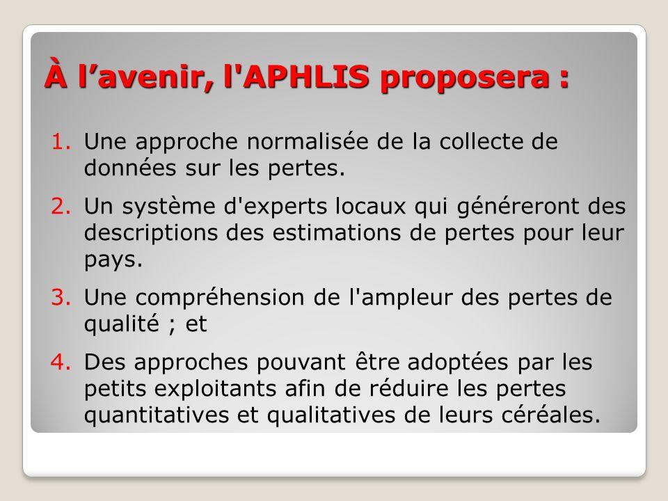 À lavenir, l'APHLIS proposera : 1.Une approche normalisée de la collecte de données sur les pertes. 2.Un système d'experts locaux qui généreront des d