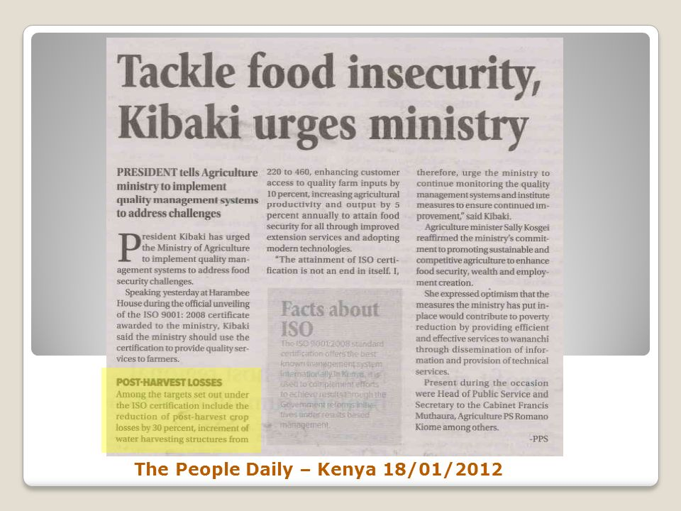The People Daily – Kenya 18/01/2012
