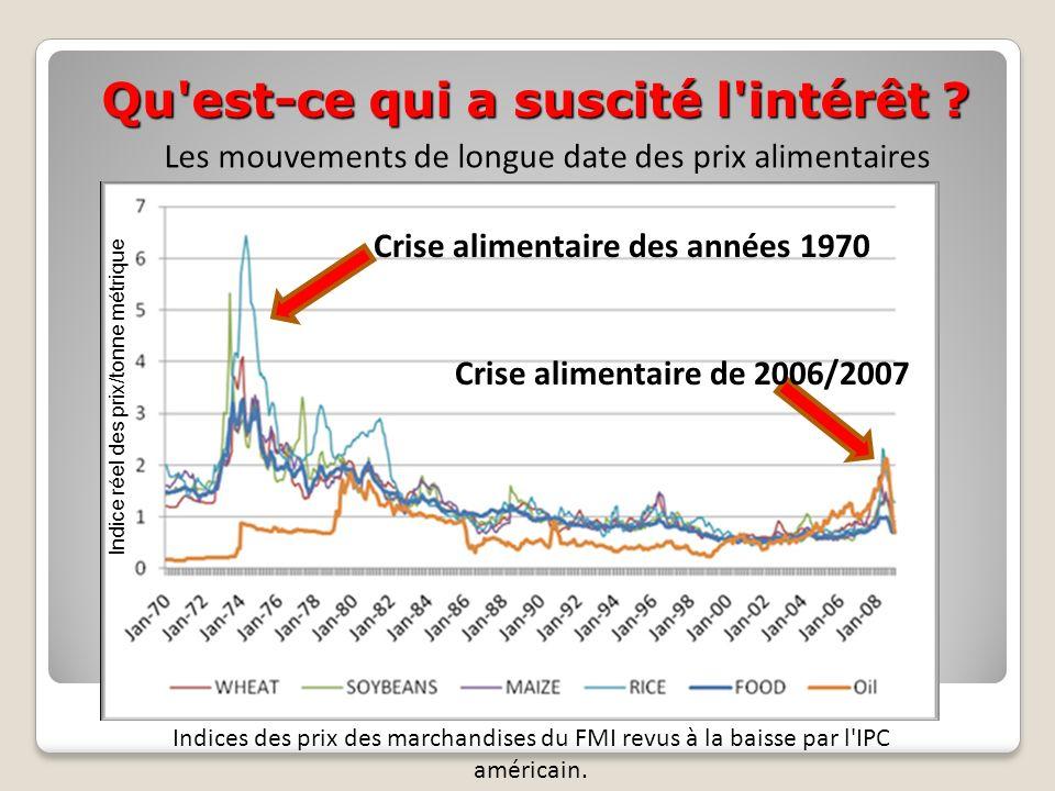 Qu'est-ce qui a suscité l'intérêt ? Les mouvements de longue date des prix alimentaires Indices des prix des marchandises du FMI revus à la baisse par