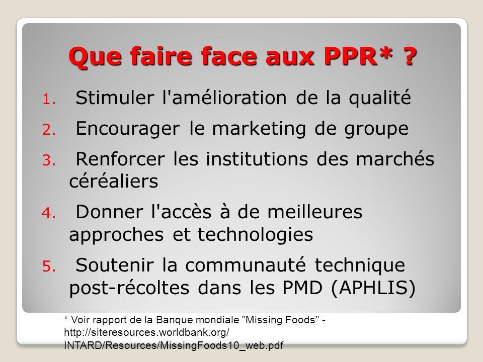 Que faire face aux PPR* ? 1. Stimuler l'amélioration de la qualité 2. Encourager le marketing de groupe 3. Renforcer les institutions des marchés céré